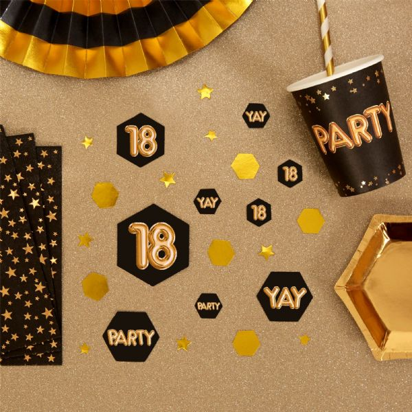Glitz & Glamour Black & Gold Confetti Scatters 18th (100)